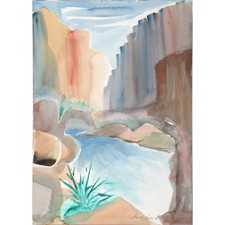 Harold Wallerstein - Canyon Landscape Watercolor on Paper For Sale