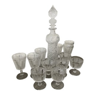 1950s Vintage MCM Crystal Decanter and Goblets - Set of 13 For Sale