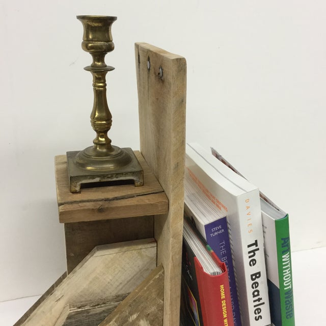 Rustic Industrial Wood Bookend & Display Shelf For Sale In Boston - Image 6 of 11