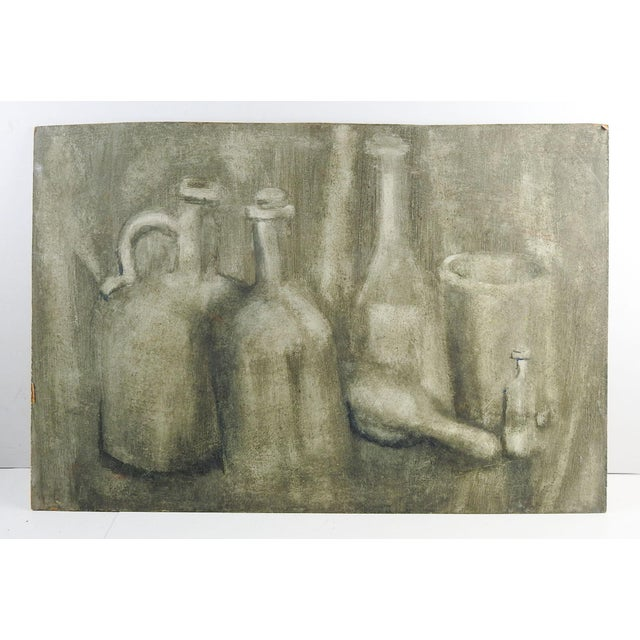 Industrial Monochromatic Still Life With Bottles Painting For Sale - Image 3 of 4