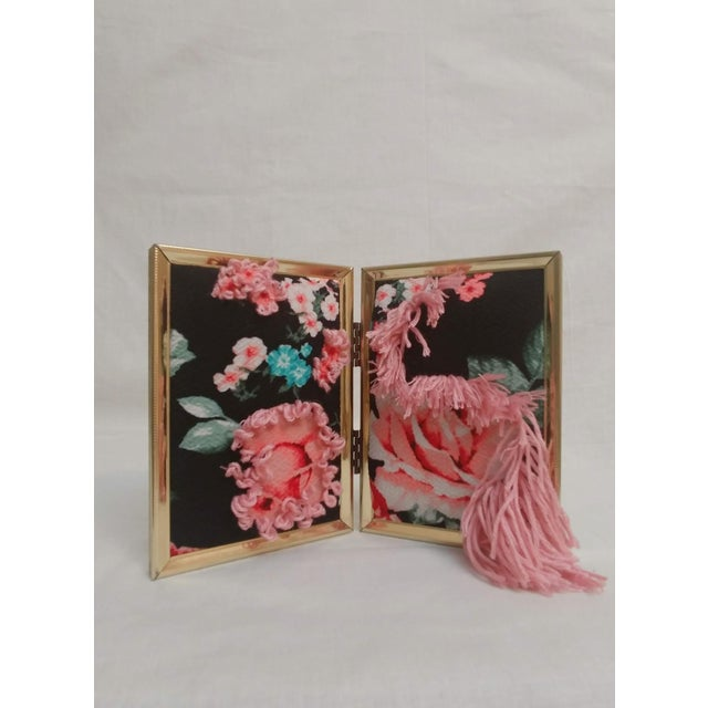 Metal Contemporary Floral Fabric Tapestry in Double Frame For Sale - Image 7 of 7