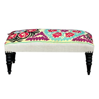 Petite Vintage Suzani Kokand Bench For Sale