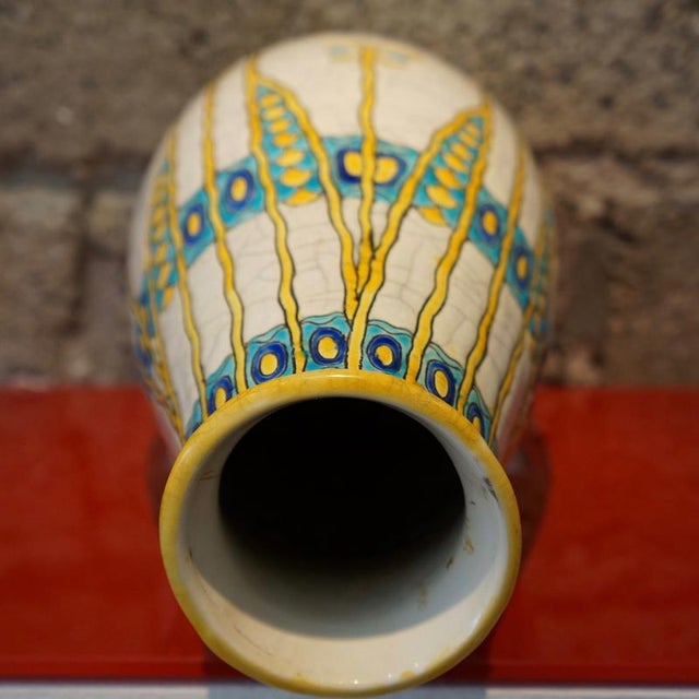 1920s Charles Catteau Three Color Patterned Vase For Sale In Los Angeles - Image 6 of 7