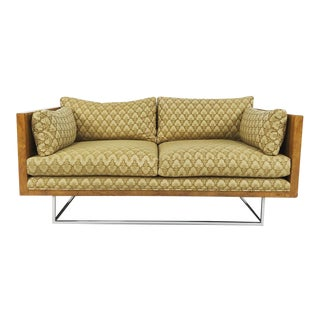 2 Seater Olive Burl Sofa With Chrome Base Designed by Milo Baughman for Thayer Coggin