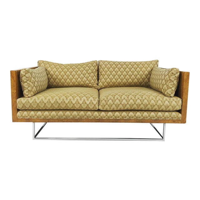 2 Seater Olive Burl Sofa With Chrome Base Designed by Milo Baughman for Thayer Coggin For Sale