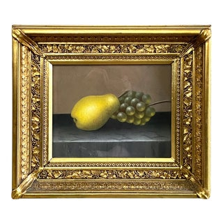 19th Century Still Life of a Pear and Grapes Pastel Drawing, Framed For Sale