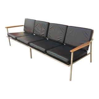 Black Vinyl Aluminum Loveseats with Walnut Arms - A Pair