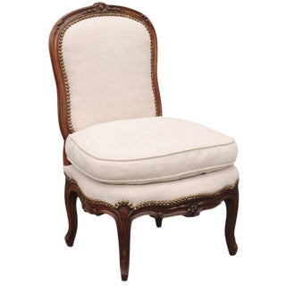 French 18th Century Louis XV Upholstered Slipper Chair Stamped Bernhard