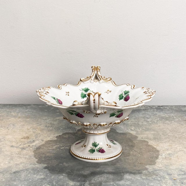A 19th Century English footed bowl or compote, decorated with raspberries