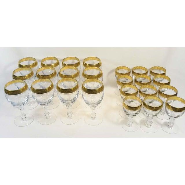 Holiday Sale!! Tiffin Franciscan Westchester 22k Gold Rim Stemware - 24 Piece Set For Sale - Image 4 of 5