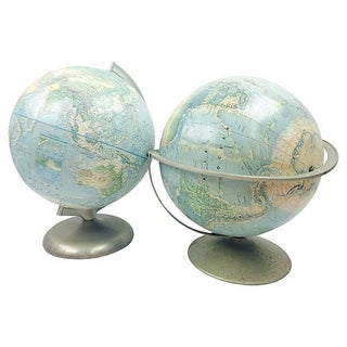 Terrestrial Globes on Metal Stands - Pair For Sale
