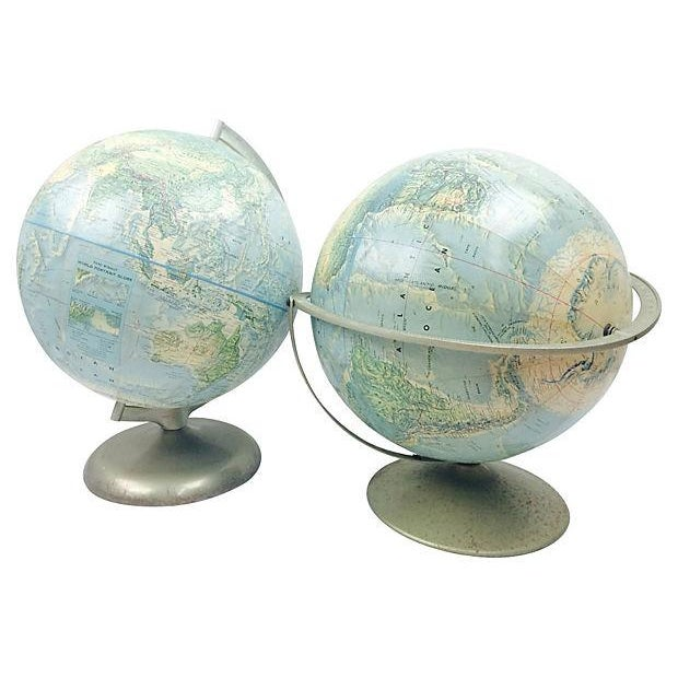 Terrestrial Globes on Metal Stands - Pair - Image 1 of 3