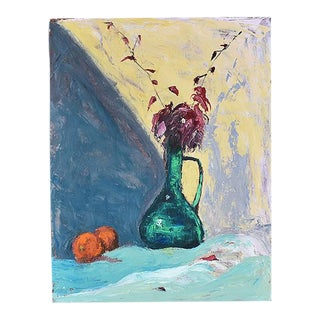 "Tall Contemporary Floral Still Life Painting by Clair Seglem - 23"" X 17.5"" For Sale"