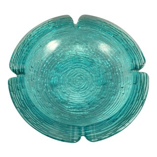 Mid Century Modern Aqua Blue Textured Art Glass Ashtray For Sale