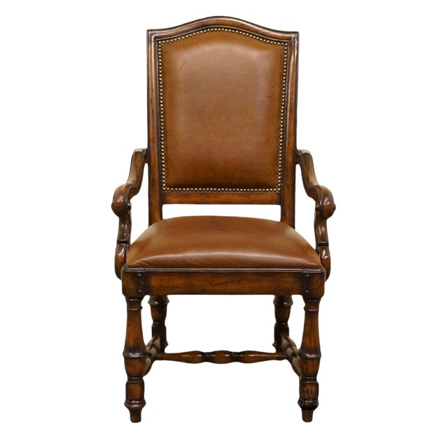 Hooker Furniture Wynterhall Collection Leather Dining Arm Chair W. Nail Head Trim For Sale