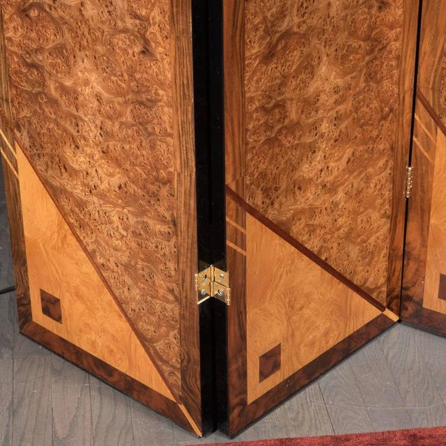 1970s Art Deco Style Four Panel Screen in Burled Carpathian Elm with Geometric Shapes For Sale - Image 5 of 9