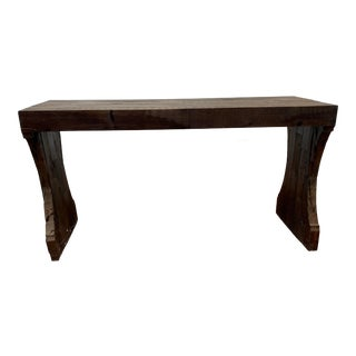 """Industrial Arété Reclaimed Wood an Bronze Star Medallions """"Balustrade"""" Console Table For Sale"""