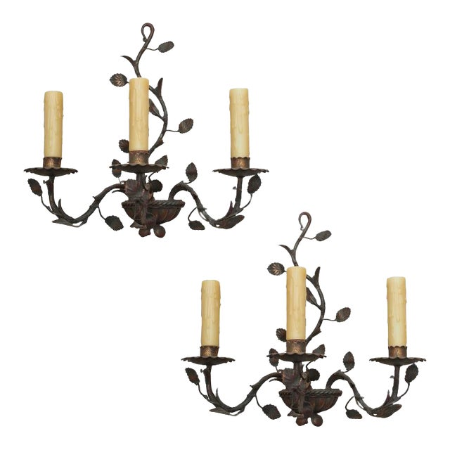 Pair of Antique Italian Iron Wall Sconces - Image 1 of 6