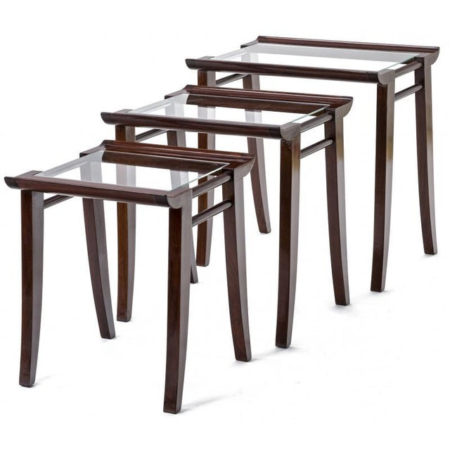 Mid-Century Modern Maxime Old Superb Set of 3 Mahogany Nesting Tables For Sale - Image 3 of 6