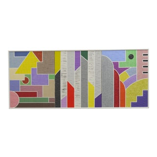 1989 Art Deco Revival Style Geometric Mixed-Media Painting, Framed For Sale