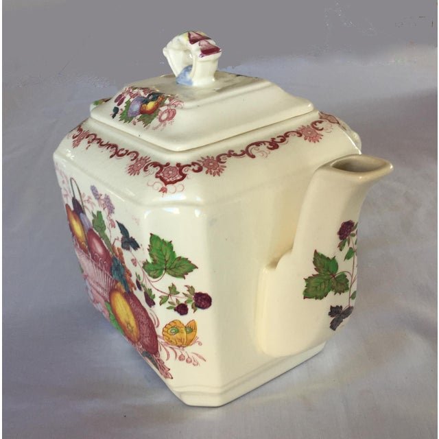 Mason's Ironstone Vintage Mason's Red Multicolor Fruit Basket Ironstone Teapot For Sale - Image 4 of 10