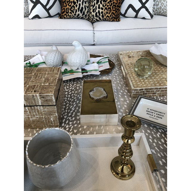 2010s Tozai Home Genuine Agate Bone & Brass Covered Box For Sale - Image 5 of 6