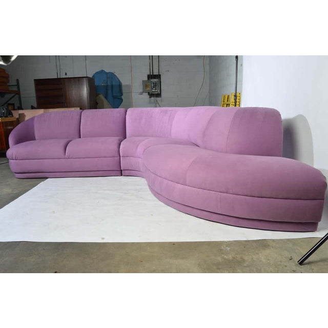 Wood Milo Baughman Serpentine Sectional Microsuede Sofa, Circa 1980 For Sale - Image 7 of 12