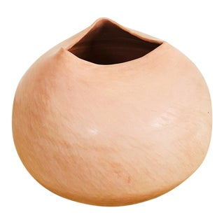 Large Vintage Handmade Blush Pink Pottery For Sale