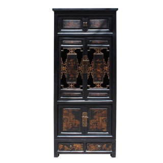 Chinese Fujian Black Golden Graphic Armoire Storage Cabinet For Sale