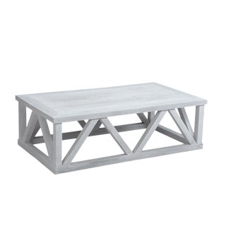 White Farmhouse Modern Coffee Table For Sale