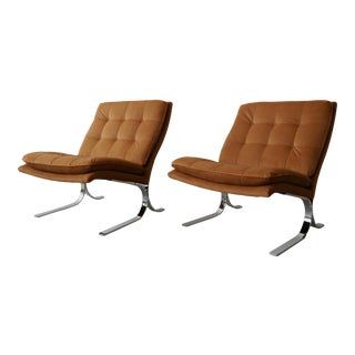 Oversized Pair of Midcentury Chrome Cantilever Slipper Chairs For Sale