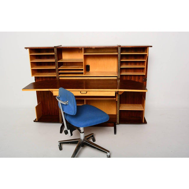 Modern Rosewood Hideaway Desk Cabinet For Sale - Image 3 of 7