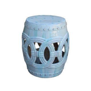 Chinese White Coin Pattern Round Clay Ceramic Garden Stool For Sale