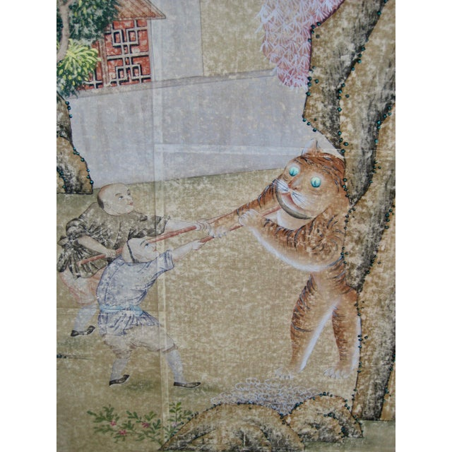 Late 19th Century 19th Century Chinese Hand Painted Wallpaper Panel, Framed For Sale - Image 5 of 13