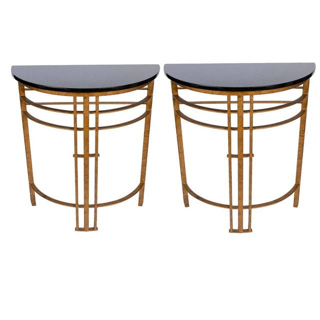 20th Century Art Deco Gilt Iron and Granite Demi Lune Consoles - a Pair For Sale - Image 10 of 10