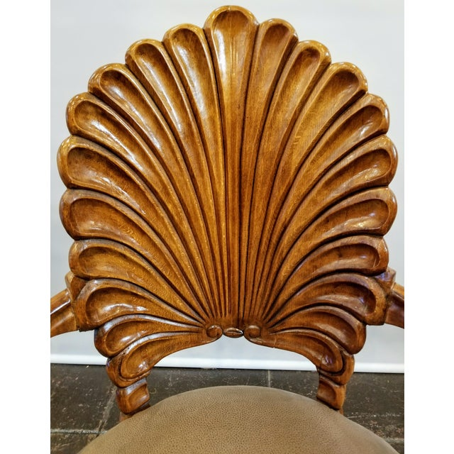 1960s Vintage Italian Venetian Carved Wood Shell Back Grotto Armchair For Sale - Image 9 of 10