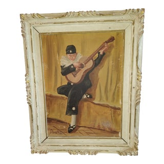 "After Jules Charet Mid 20th Century ""Guitar Player"" Figurative Painting, Framed For Sale"