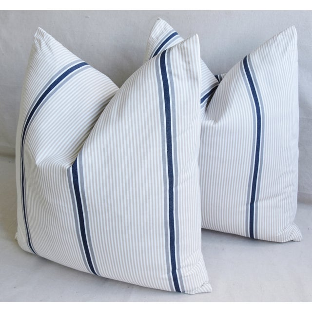 """Blue French Blue/Gray/Tan/White Striped Ticking Feather/Down Pillows 23"""" Square - Pair For Sale - Image 8 of 12"""