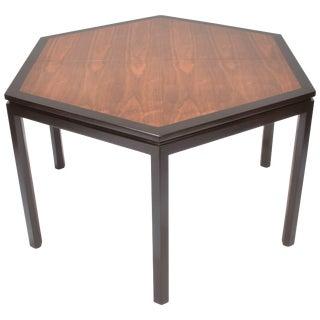 Edward Wormley for Dunbar Hexagonal Mahogany and Walnut Dining Table For Sale