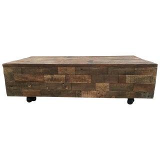 Block Teak Burl Coffee Table For Sale