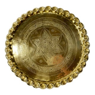 Moroccan Brass Serving Tray For Sale