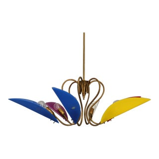 Italian 50's Multi-Coloured Brass and Plexiglass Chandelier With 6 Lights For Sale