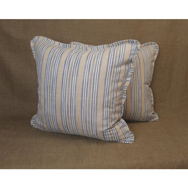 Pair of Pindler throw pillows in Cantrell woven cotton and Linen, cadet colorway blue, cream and linen, flat welt with...