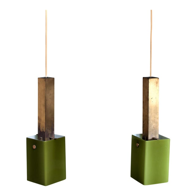 Pair of Brass and Green Glass Pendants, 1950s For Sale