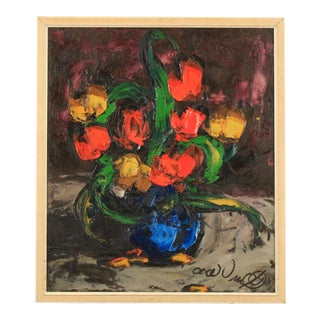 Impasto Floral Still Life For Sale
