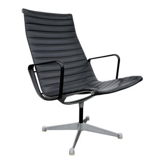 Vintage Charles Eames Black Leather Herman Miller Aluminum Group Office Chair For Sale