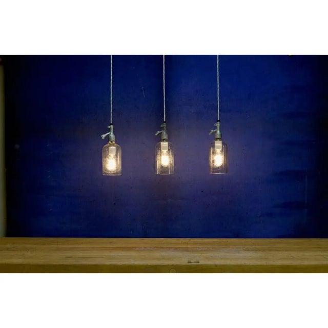 Seltzer Bottle Pendant Light, Clear or Blue Glass For Sale - Image 4 of 8