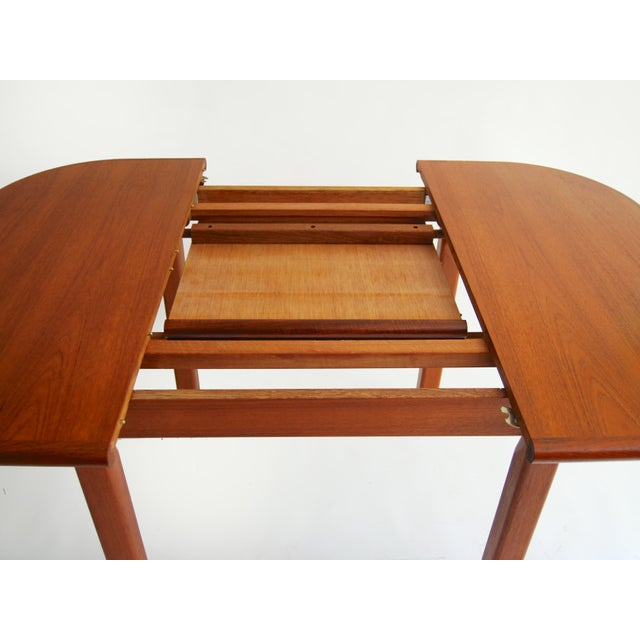 Vintage Mid-Century Modern Teak Extending Dining Table by D-Scan For Sale - Image 10 of 11