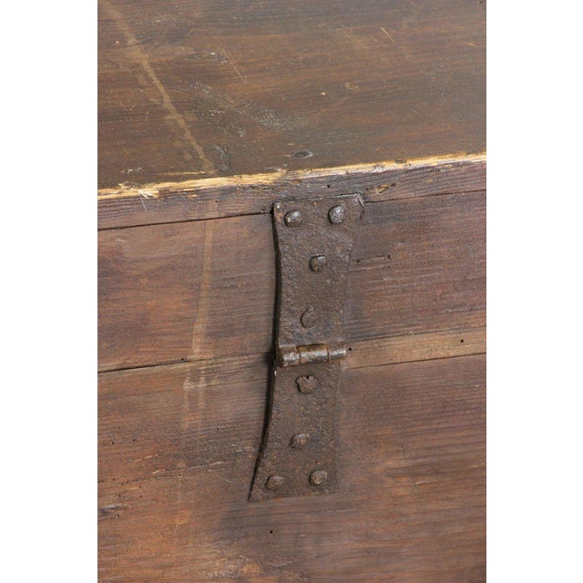 Metal 19th Century Primitive Dome-Top Coffin Chest For Sale - Image 7 of 9