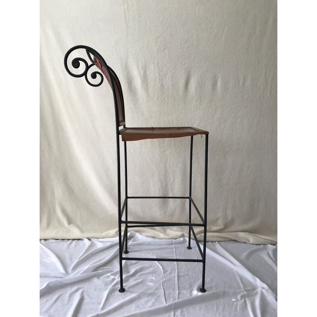 Scrolled Iron & Leather Bar Stools - Set of 3 - Image 9 of 11